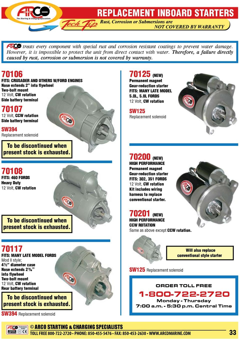 Replacement Inboard Starters Pdf 12 Volt Wiring Harness Kit 70201 New Ccw Rotation Same As Above Except