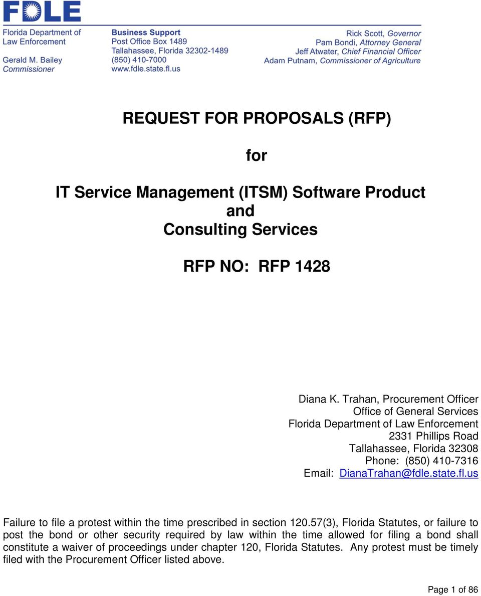REQUEST FOR PROPOSALS (RFP) for  IT Service Management (ITSM