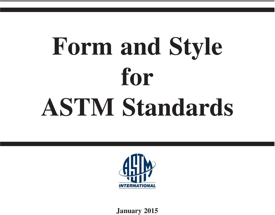 Form and Style for ASTM Standards - PDF