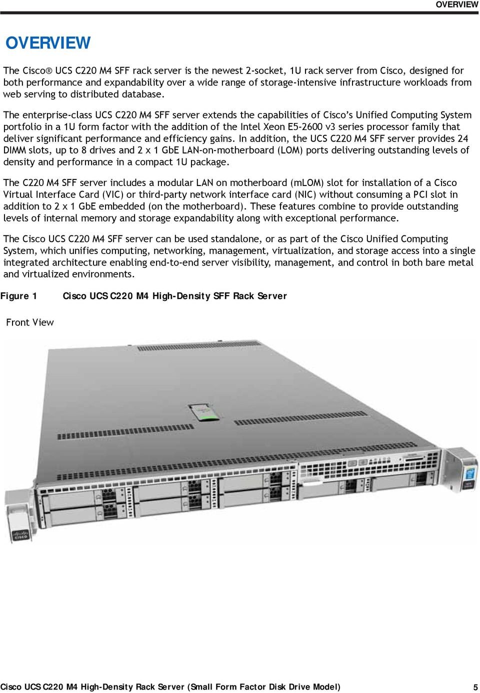 Cisco UCS C220 M4 High-Density Rack Server (Small Form
