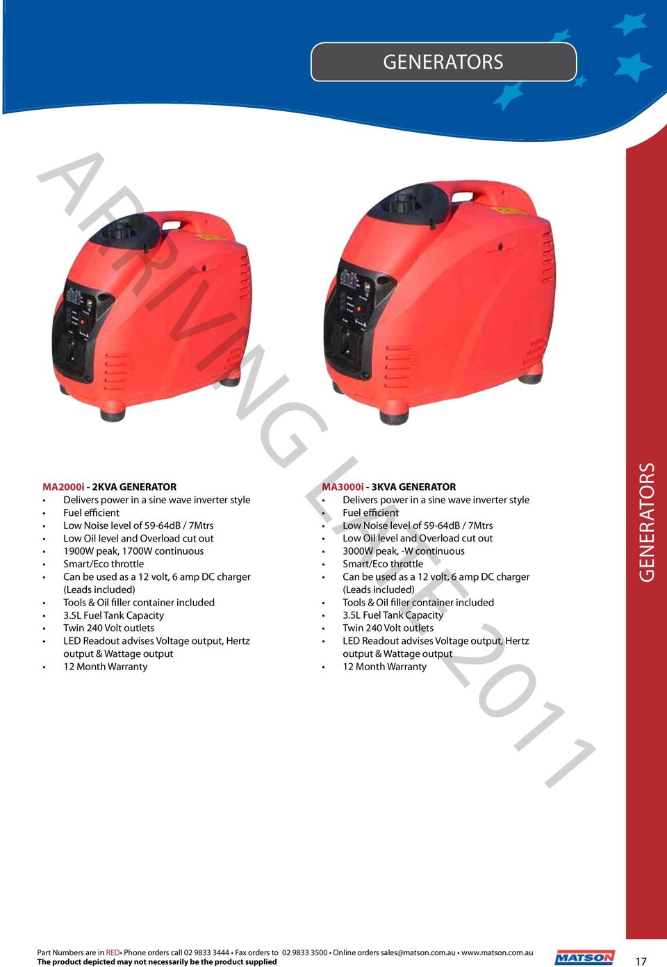 2012 V10 The Professionals Choice Pdf Suoer 2 In 1 Inverter Charger 500 Watt Typer Saa 500w C 5l Fuel Tank Capacity Twin 240 Volt Outlets Led Readout Advises Voltage Output Hertz