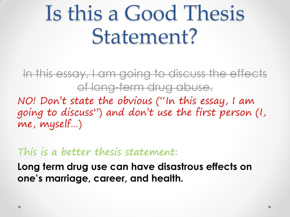 which of the following is a good thesis statement
