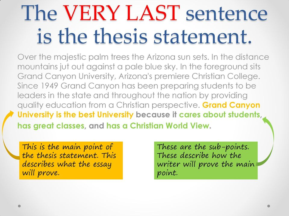 is the thesis statement the last sentence