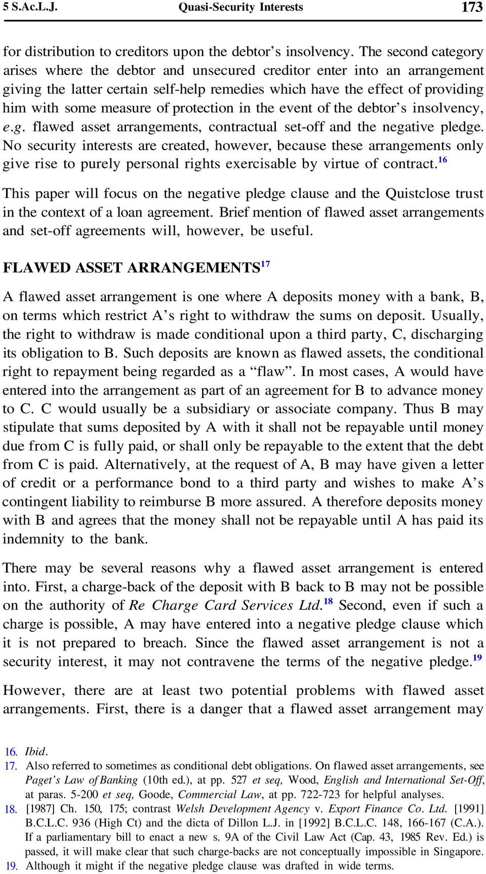 Quasi Security Interests In Loan Agreements An Overview 1 Pdf