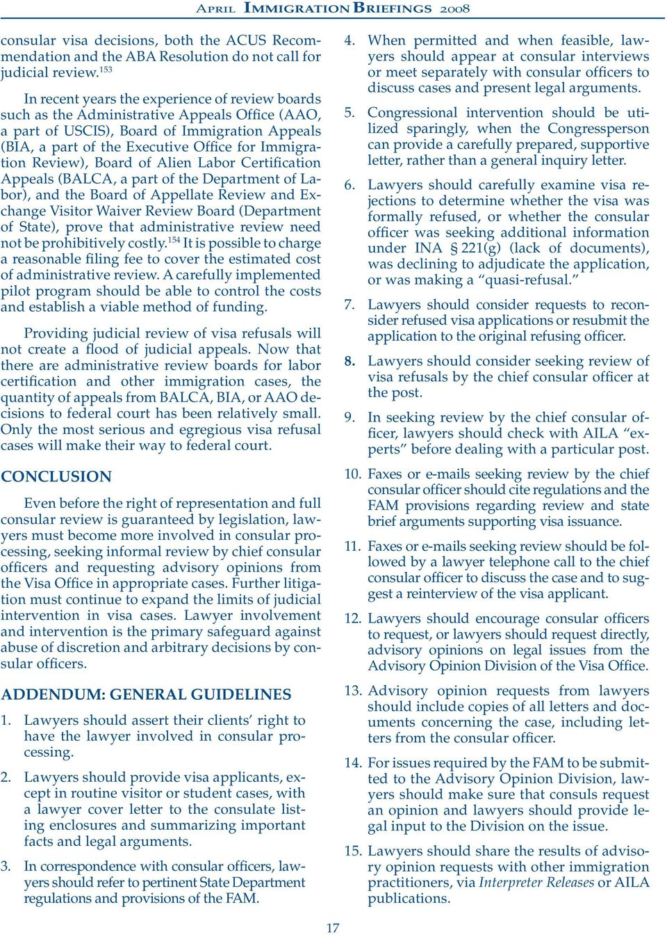 THE LAWYER S ROLE IN CONSULAR VISA REFUSALS - PDF