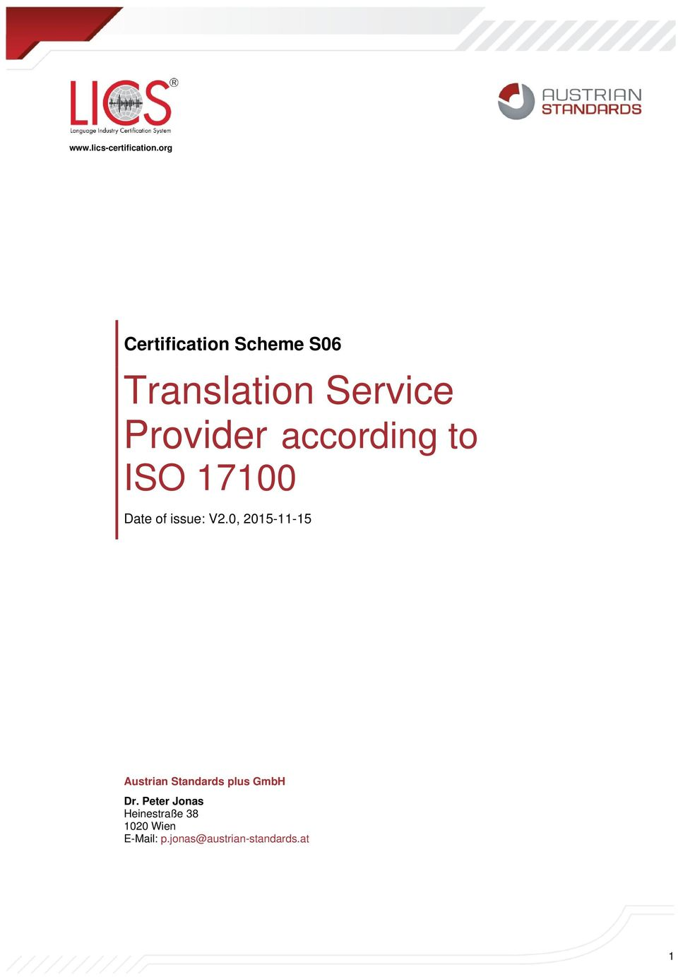 according to ISO 17100 Date of issue: V2.