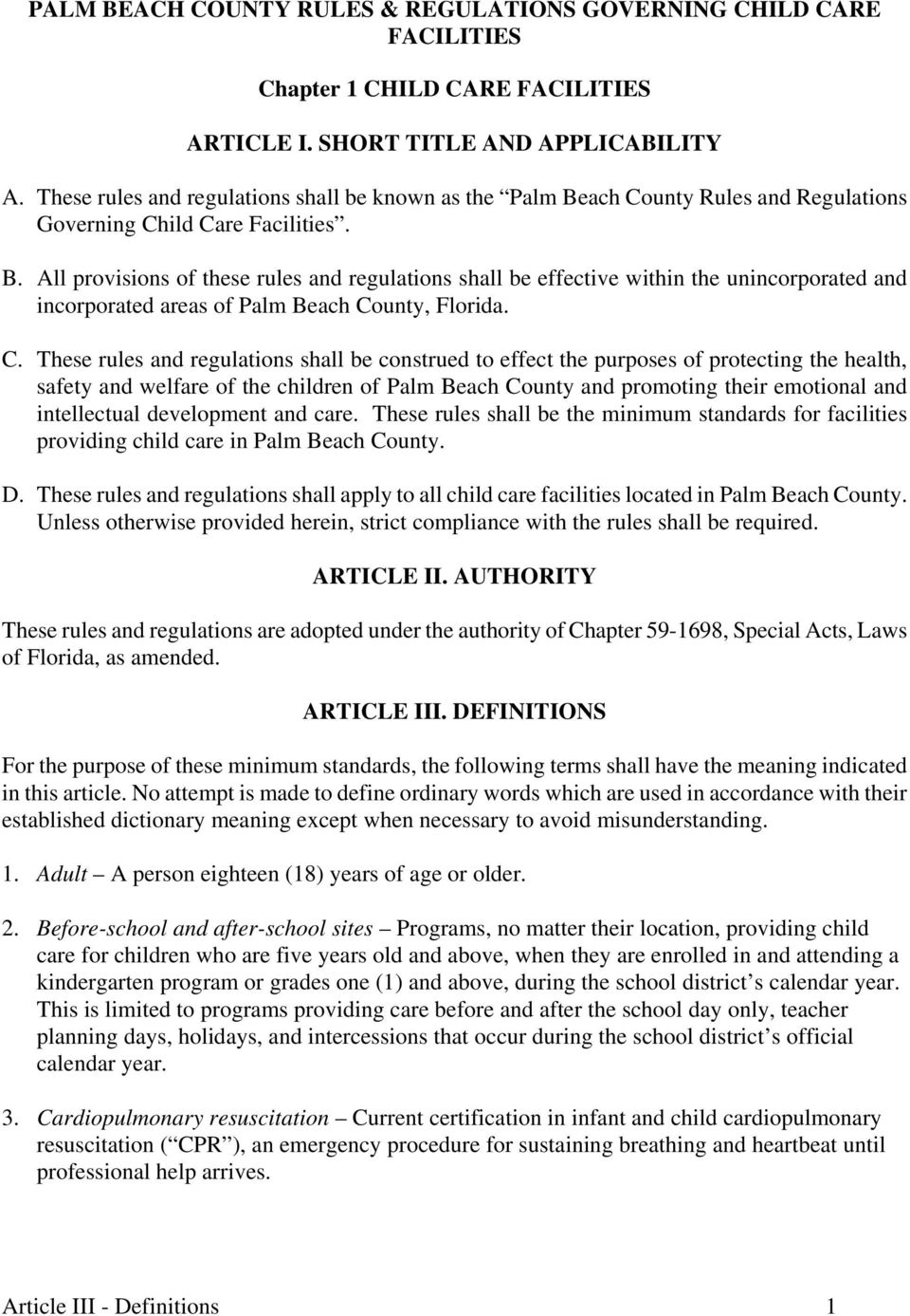 PALM BEACH COUNTY GOVERNING CHILD CARE FACILITIES - PDF