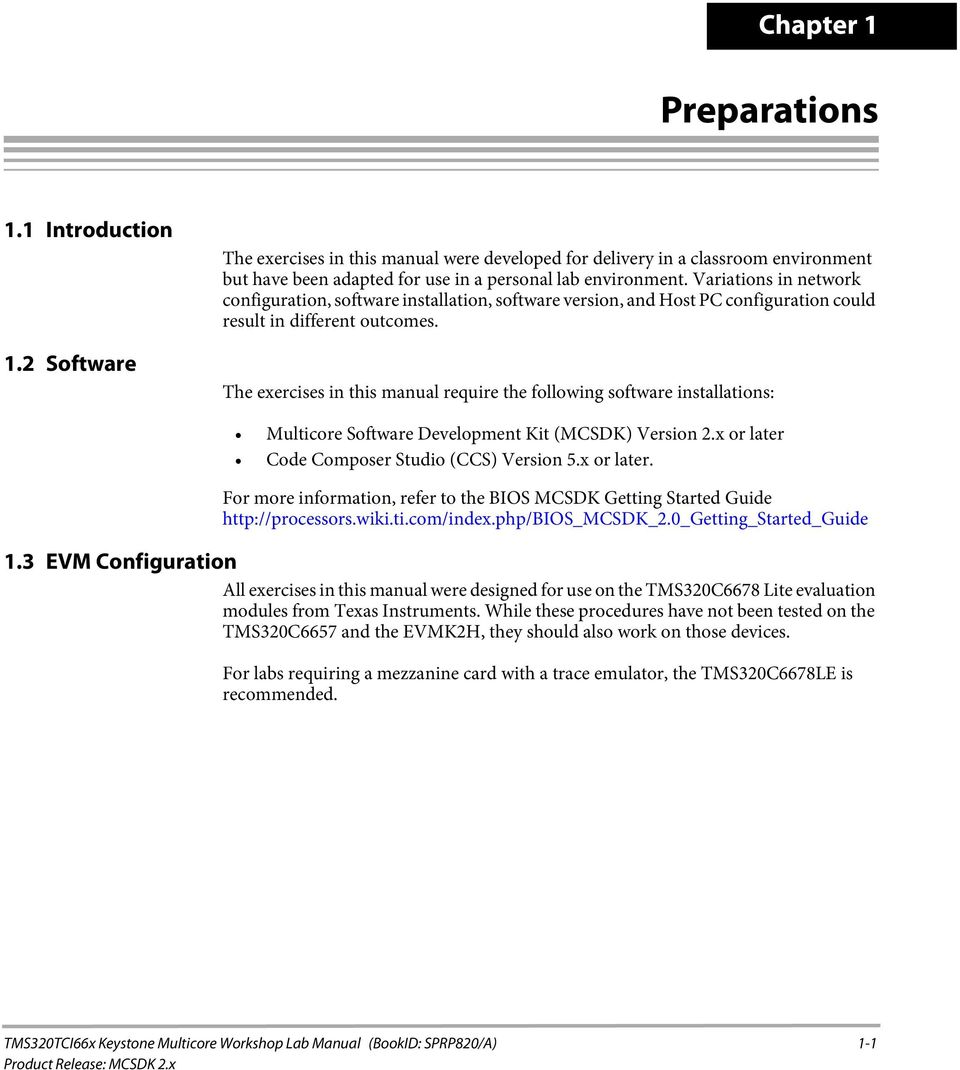 The exercises in this manual require the following software installations:  Multicore Software Development Kit (