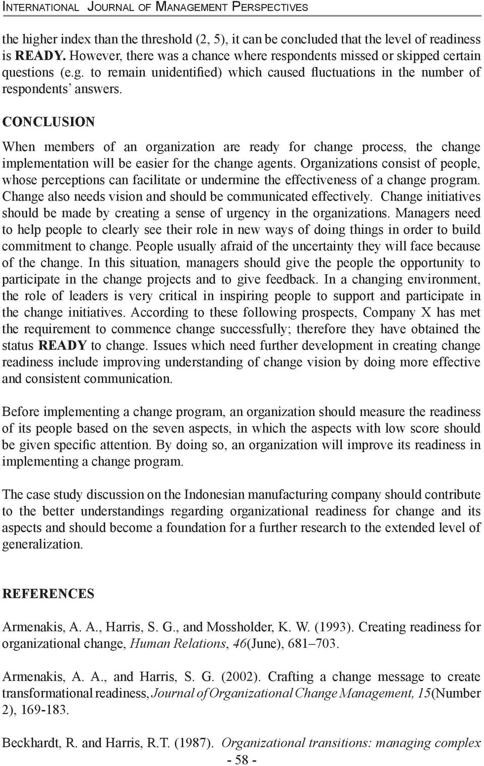 Organizational Readiness for Change: A Case Study on Change