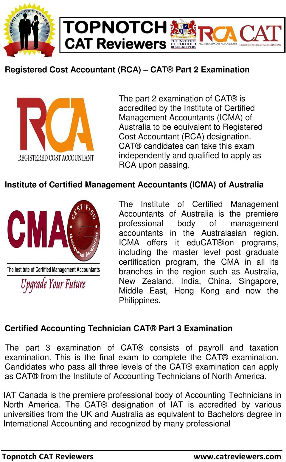 Certified Accounting Technician Registered Cost Accountant Certified