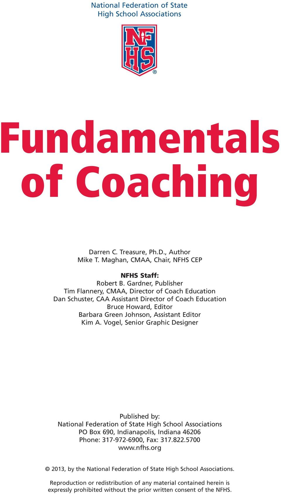 Fundamentals of coaching pdf vogel senior graphic designer published by national federation of state high school associations po fandeluxe Choice Image