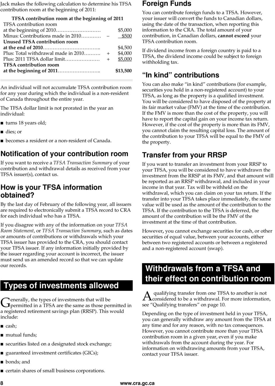Tax-Free Savings Account (TFSA), Guide for Individuals - PDF