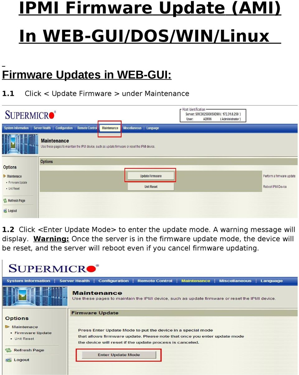 IPMI Firmware Update (AMI) In WEB-GUI/DOS/WIN/Linux - PDF