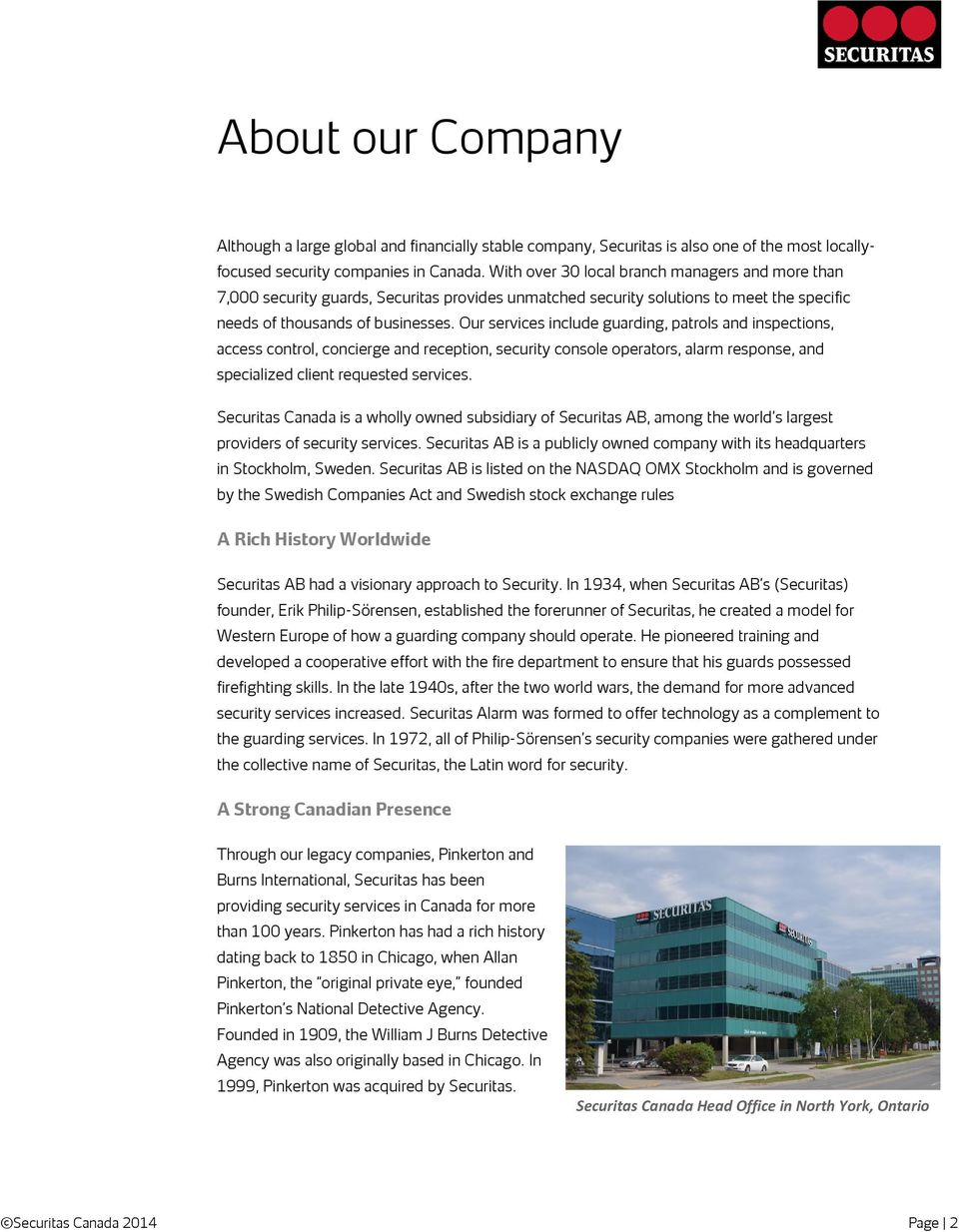 Securitas Canada Limited About our Company - PDF