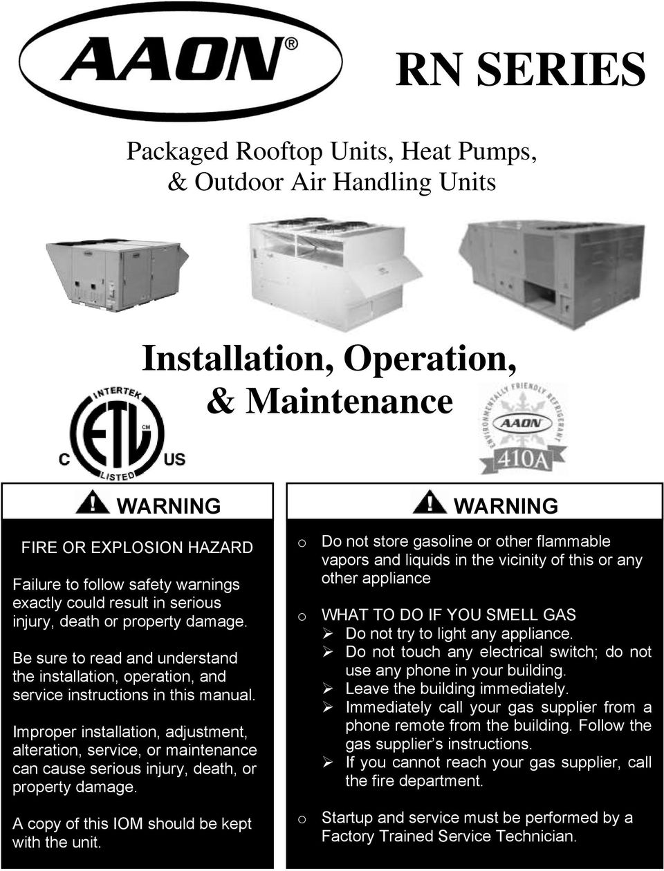 RN SERIES. Installation, Operation, & Maintenance. Packaged ... on