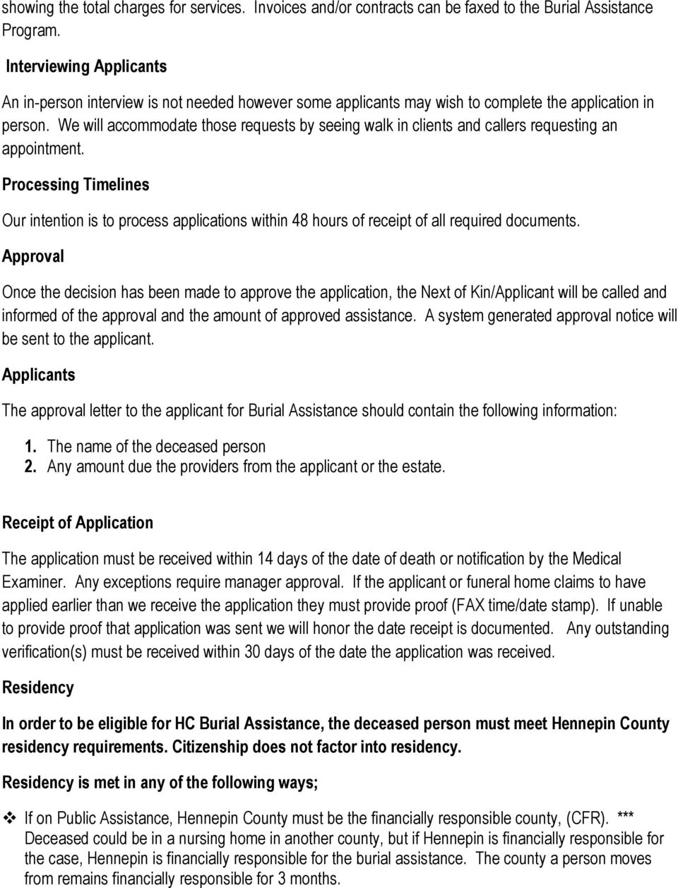 Hennepin County Burial Assistance Policy January 01 Pdf