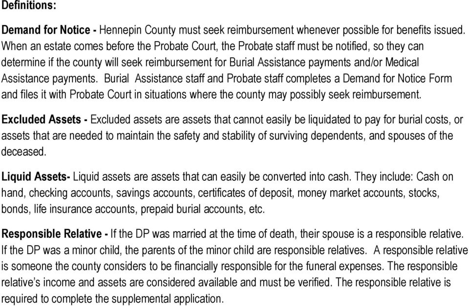 Hennepin County Burial Assistance Policy January 01, PDF