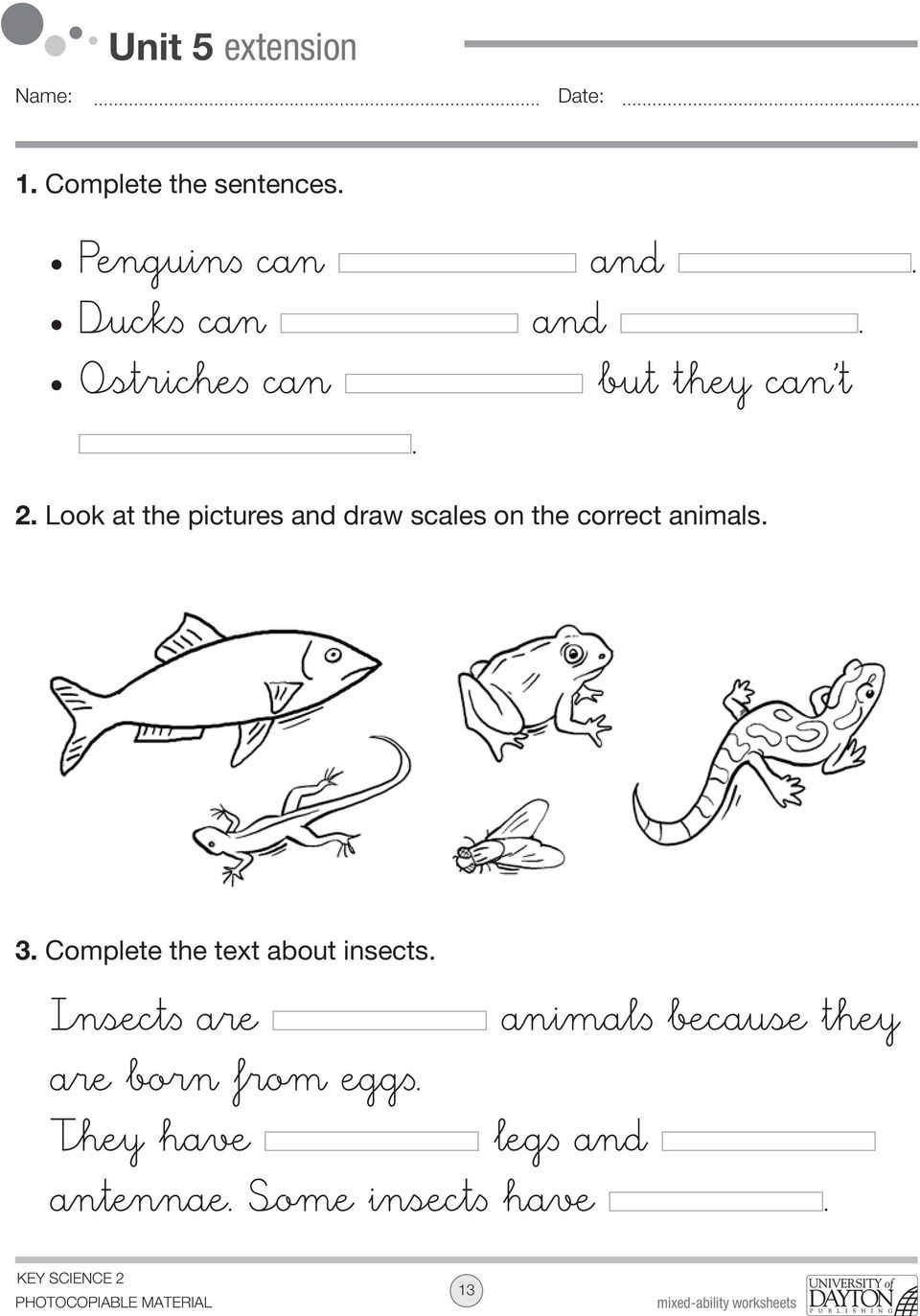 Look at the pictures and draw scales on the correct animals. 3.