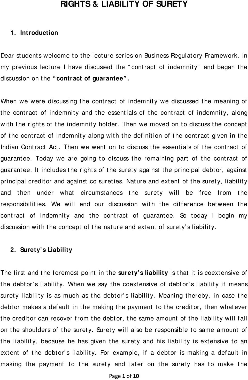 Rights Liability Of Surety Pdf