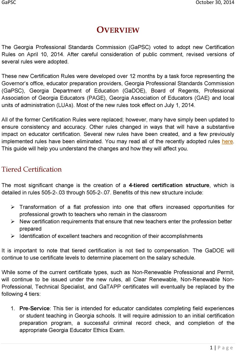 Gapsc October 30 2014 Contents Overview Tiered Certification 1
