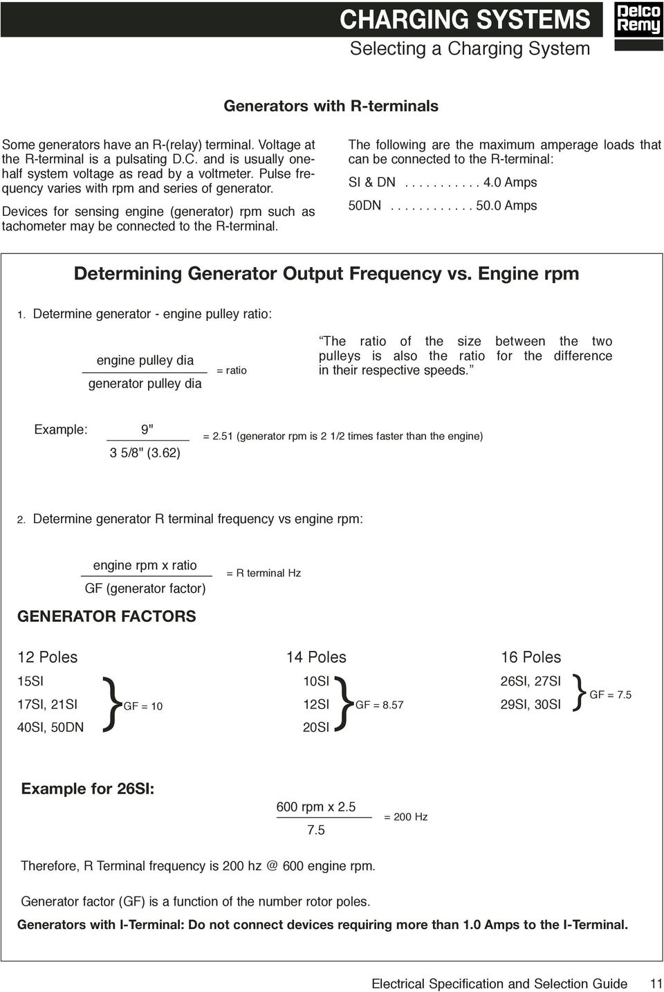 Electrical Specifications Selection Guide Pdf Delco Alternator Regulator F And R Terminals The Following Are Maximum Amperage Loads That Can Be Connected To Terminal