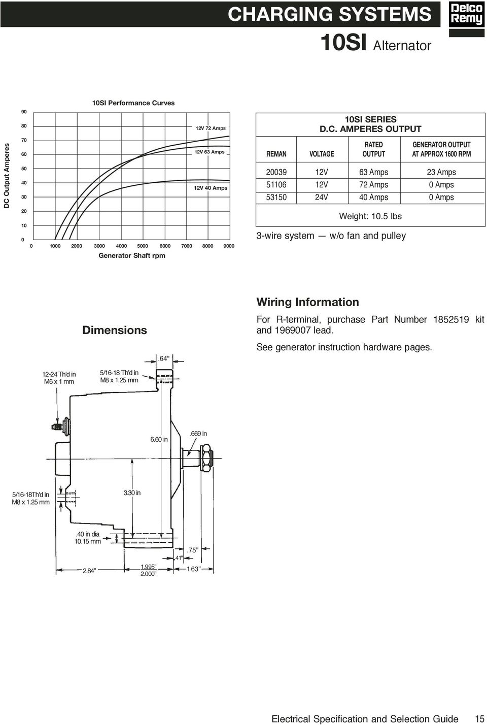 Electrical Specifications Selection Guide Pdf 24 Volt Generator Wiring Diagram Amperes Output Rated Reman Voltage At Approx 1600 Rpm 20039 12v 63 Amps