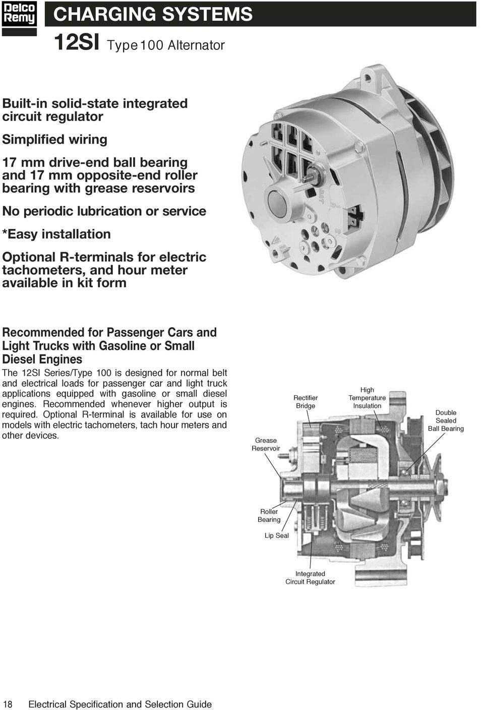 Electrical Specifications Selection Guide Pdf 27si Delco Remy Alternator Wiring Diagram Or Small Diesel Engines The 12si Series Type 100 Is Designed For Normal Belt And