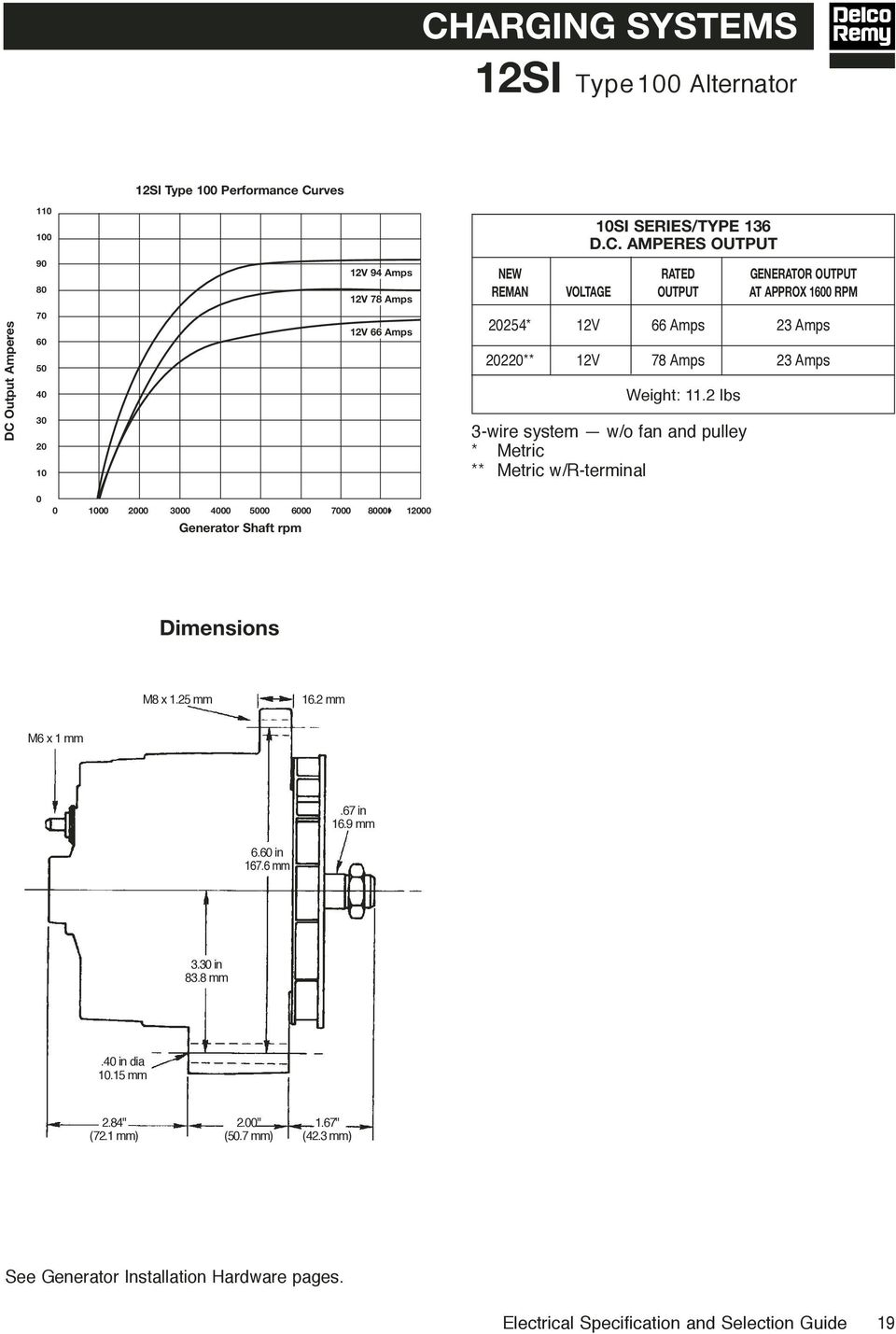Electrical Specifications Selection Guide Pdf Delco Alternator Regulator F And R Terminals 2 Lbs 3 Wire System W O Fan Pulley Metric
