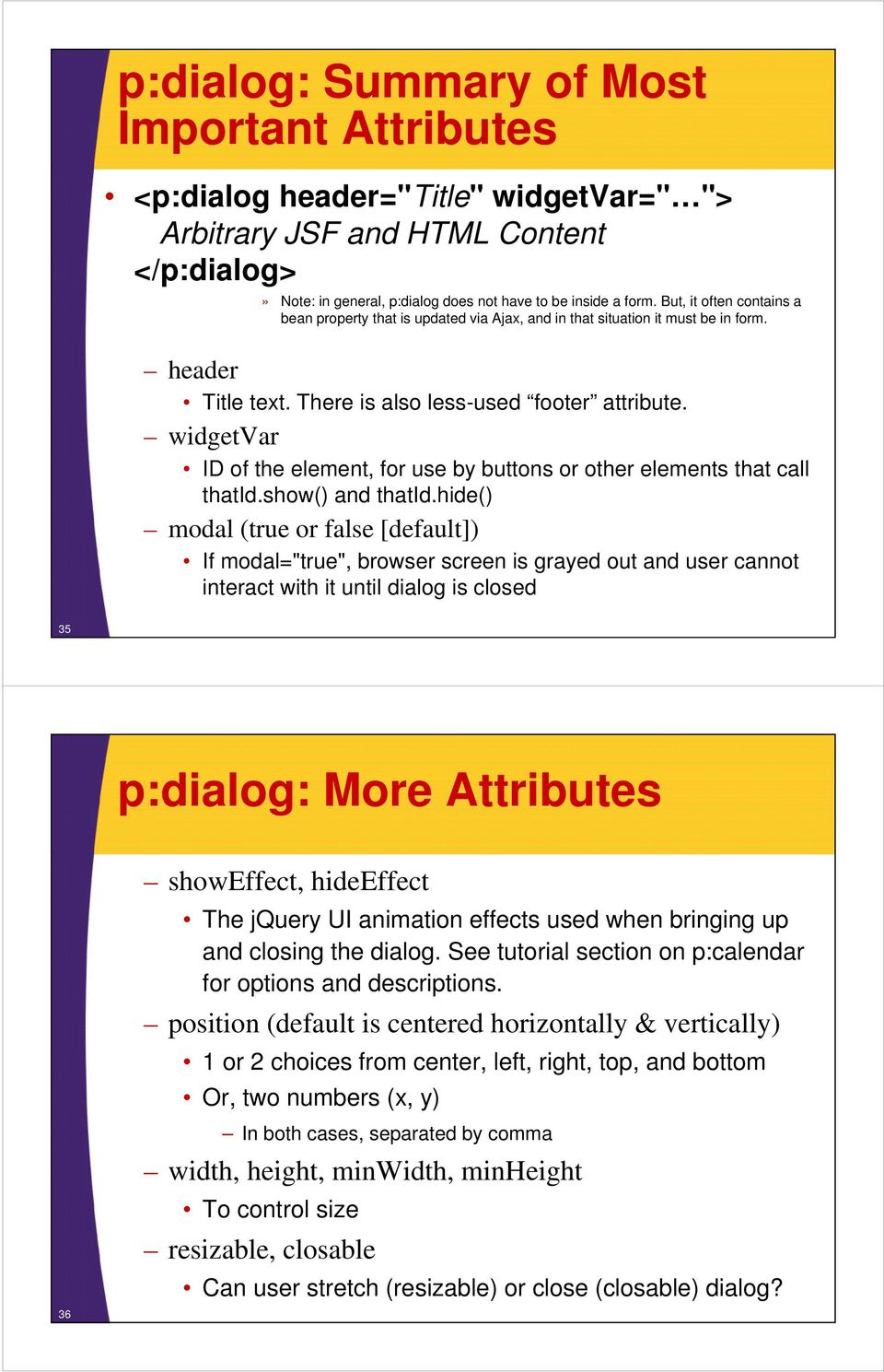 PrimeFaces: Dialogs and Other Overlays - PDF