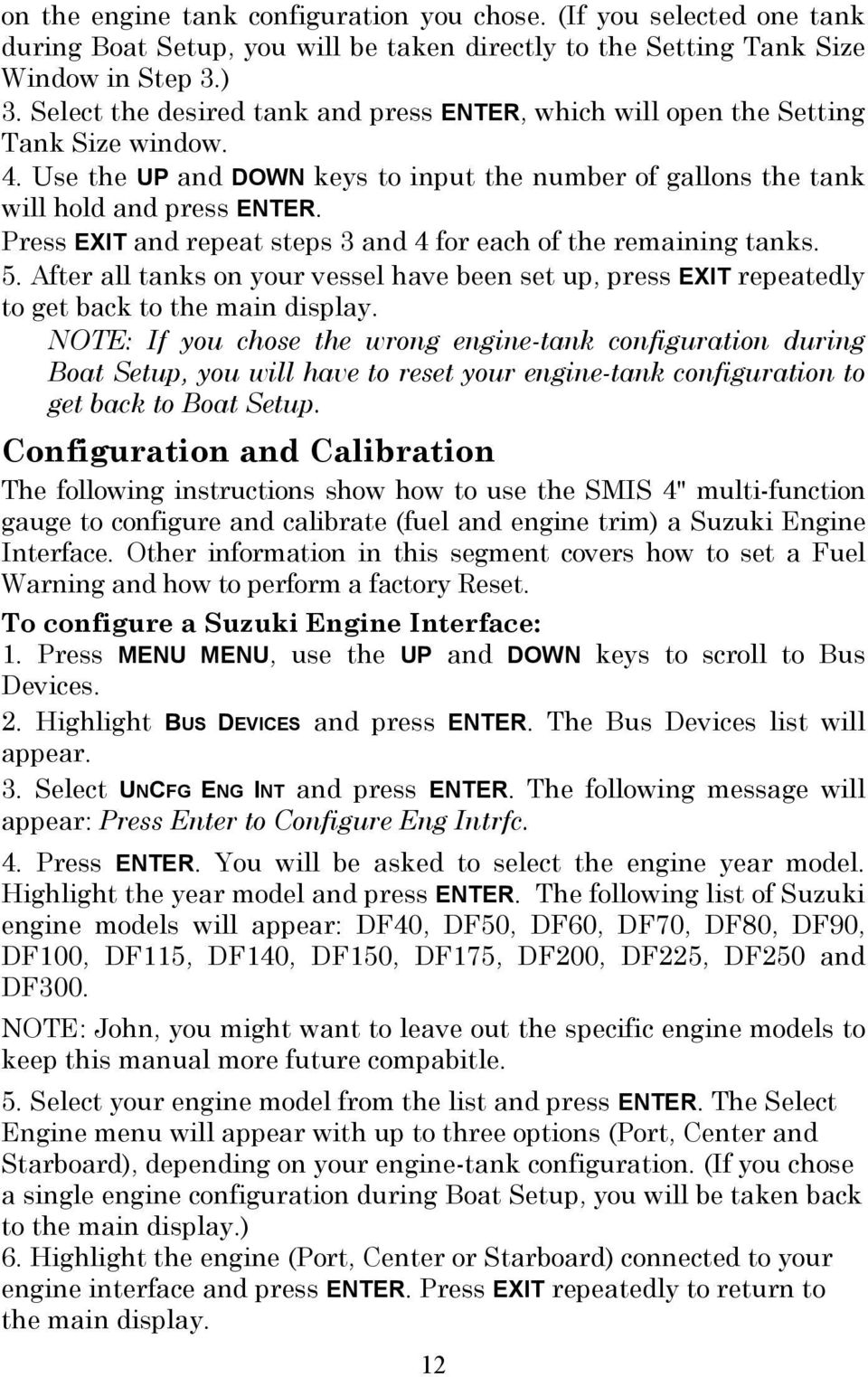 Suzuki Modular Instrument System Smis 4 Display Pdf Df90 Wiring Diagram Press Exit And Repeat Steps 3 For Each Of The Remaining Tanks 5