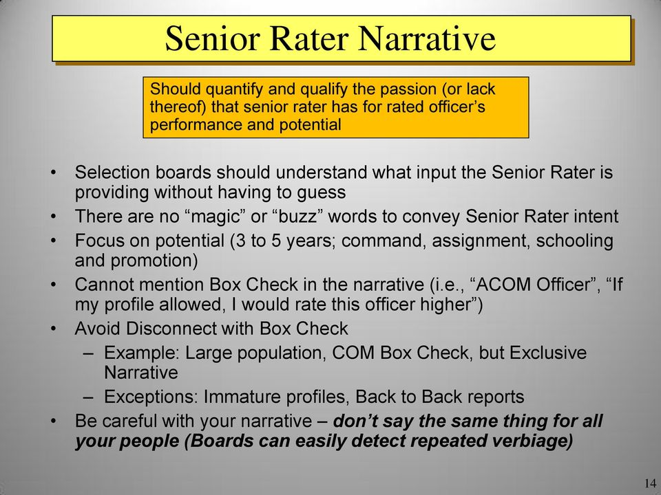 Military Evaluation (OER & NCOER) Rater and Senior Rater