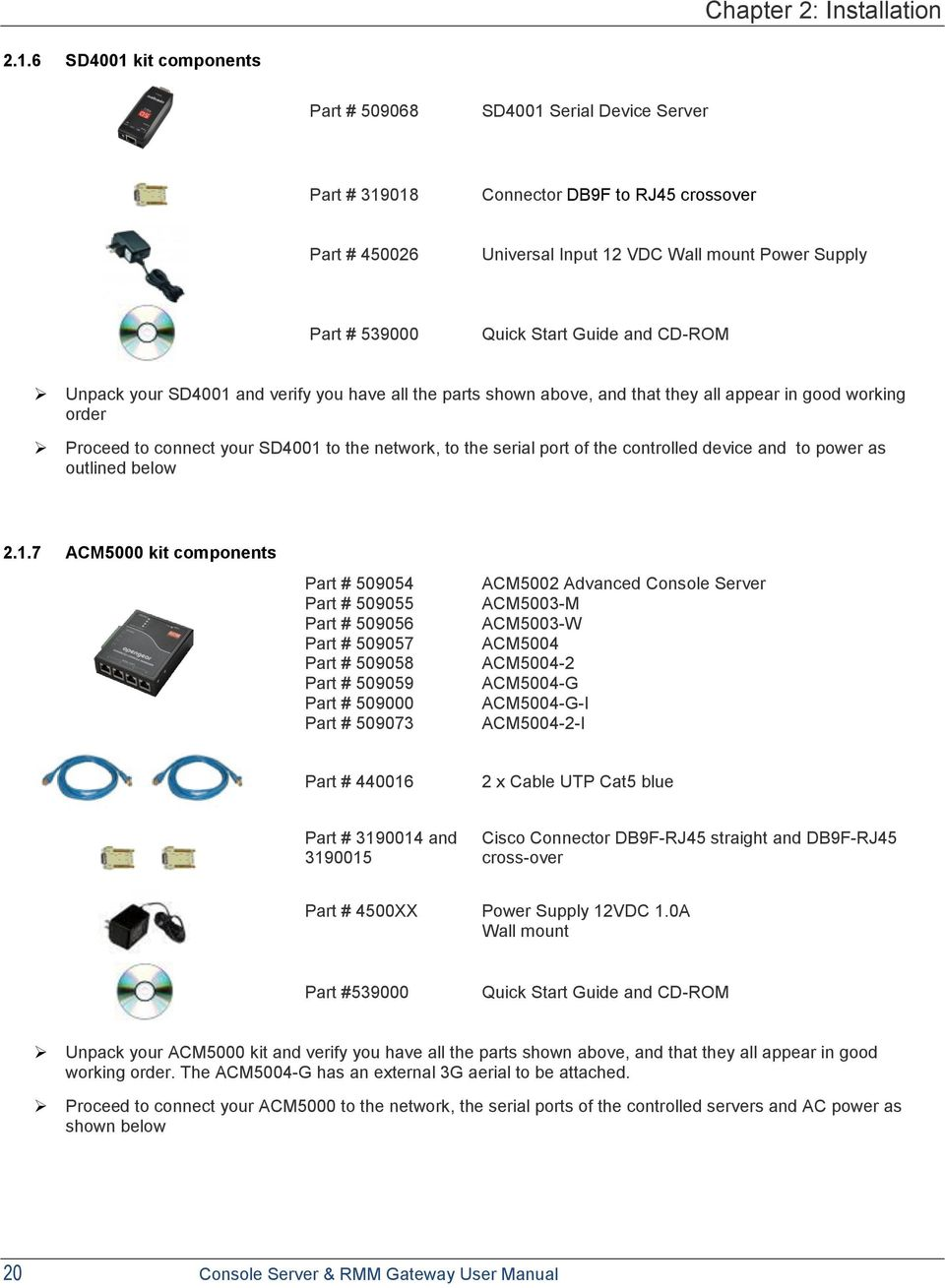 User Manual Acm5000 Acm5500 Rmm Gateways Im4000 Im4200 Usb Serial Port Cable Connection Diagram Usrobotics 56k Dialup Guide And Cd Rom Unpack Your Sd4001 Verify You Have All The Parts Shown