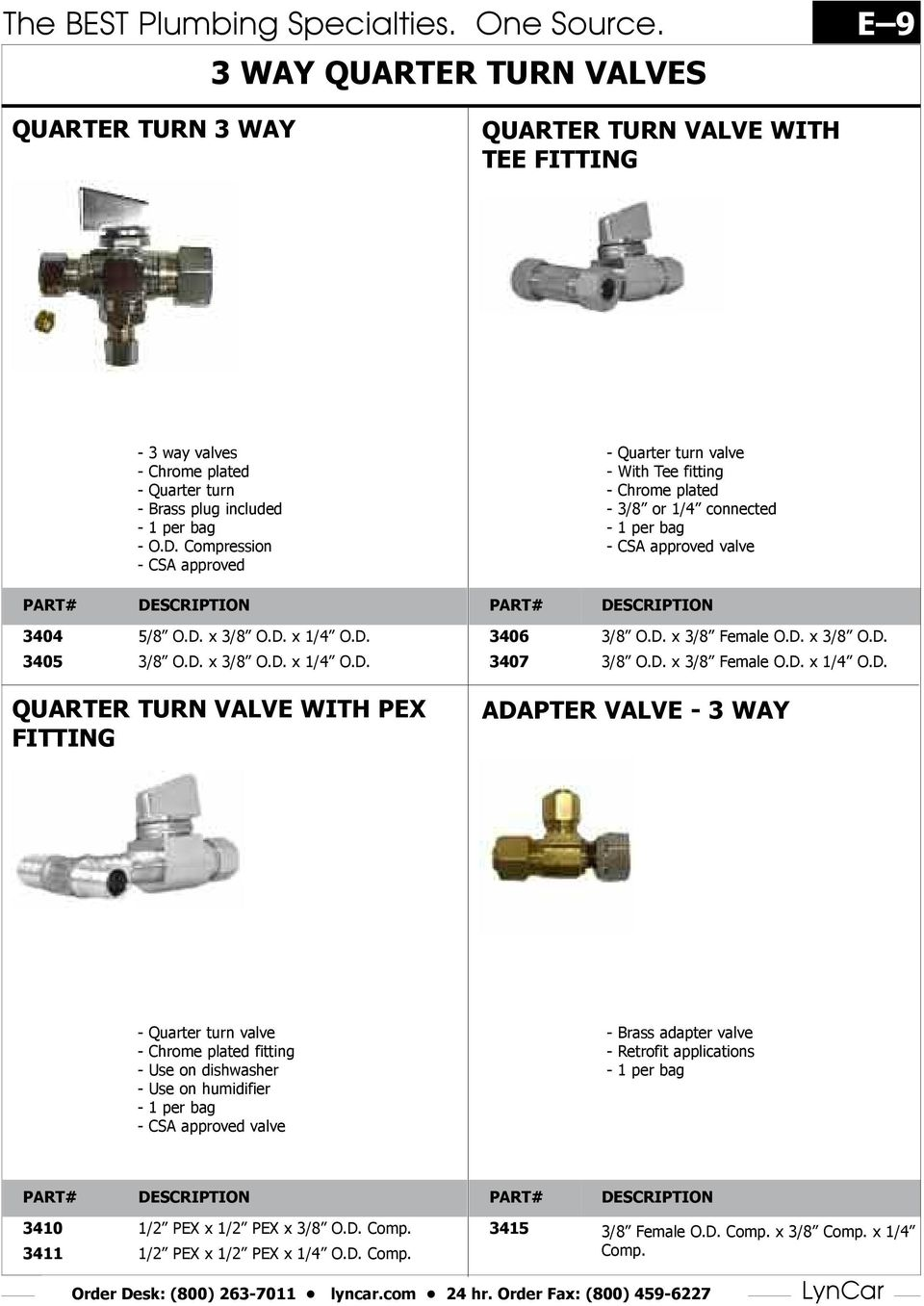 The Best Plumbing Specialties One Source E 1 Pdf At Light Fixture Box Proceeds To First 3way Switch A 4 Compression Csa Approved Quarter Turn Valve With Tee Fitting Chrome Plated