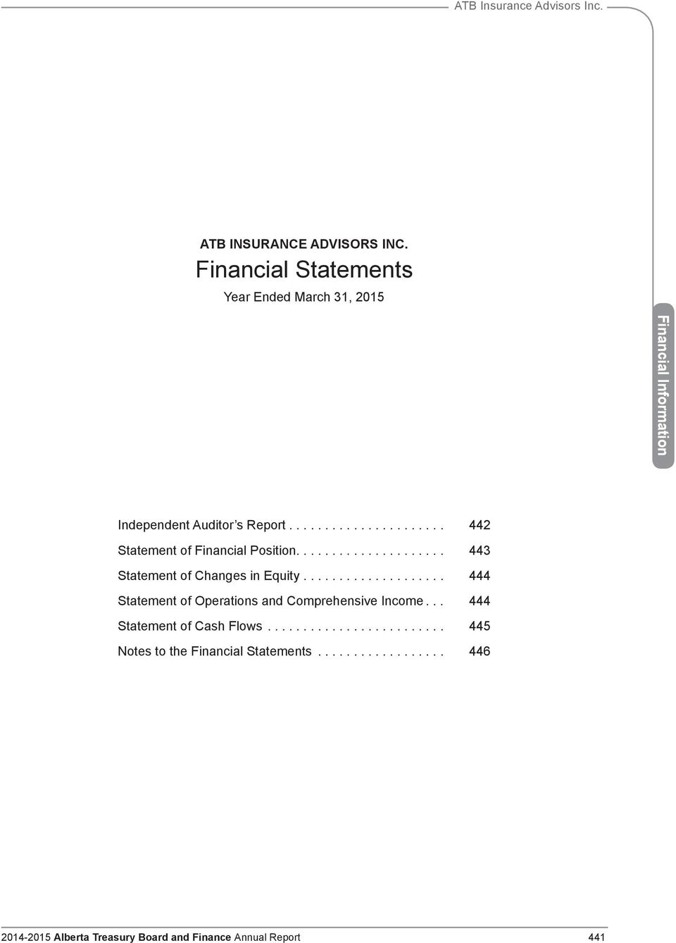 ... 442 Statement of Financial Position..................... 443 Statement of Changes in Equity.