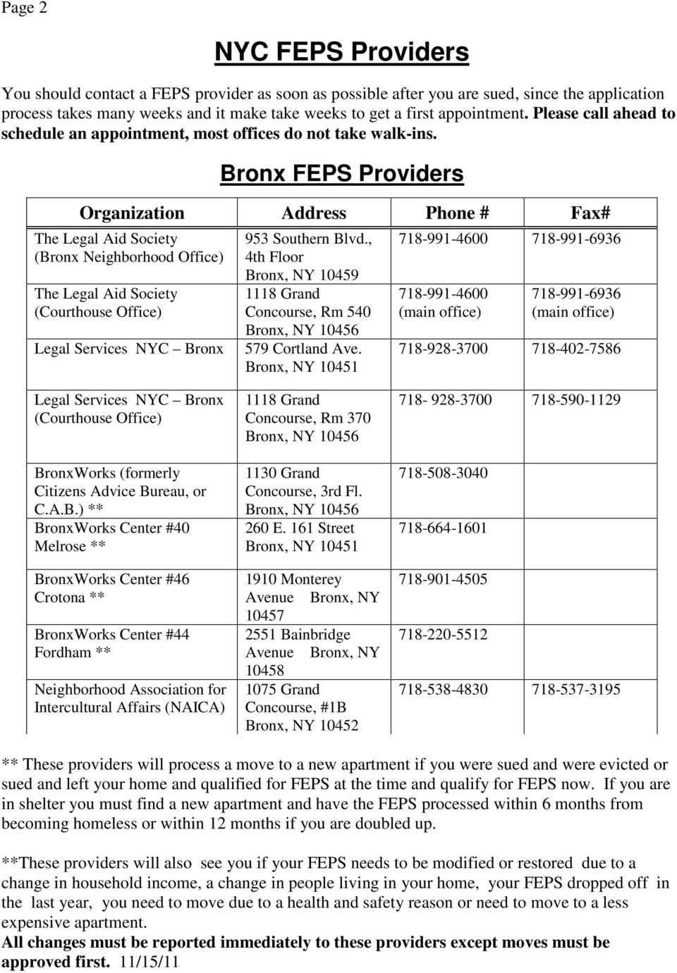BASIC FACTS ABOUT THE FAMILY EVICTION PREVENTION SUPPLEMENT (FEPS