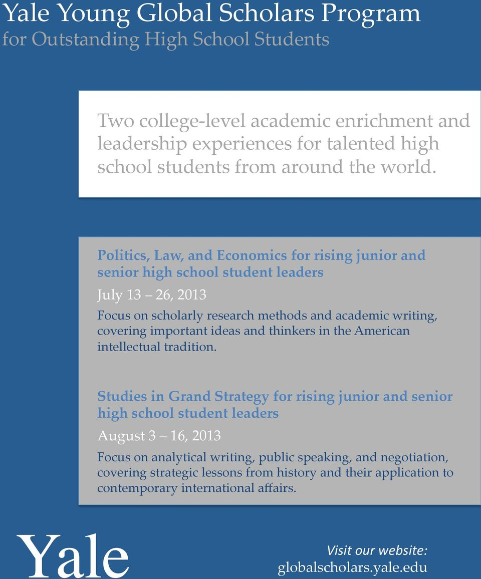 Yale  Yale Young Global Scholars Program for Outstanding