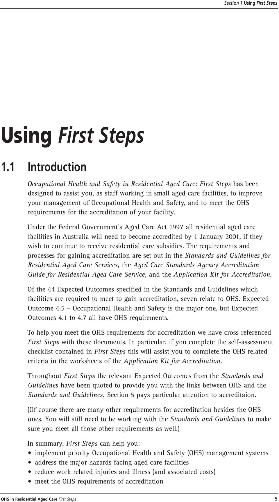 Occupational health and safety in residential aged care first steps occupational health and safety and to meet the ohs requirements for the accreditation of your fandeluxe Choice Image