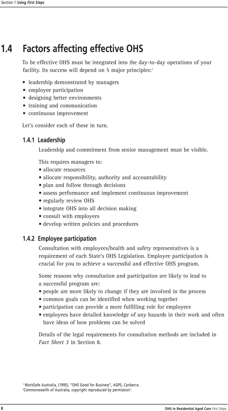 Occupational health and safety in residential aged care first steps consider each of these in turn 141 leadership leadership and commitment from senior fandeluxe Choice Image