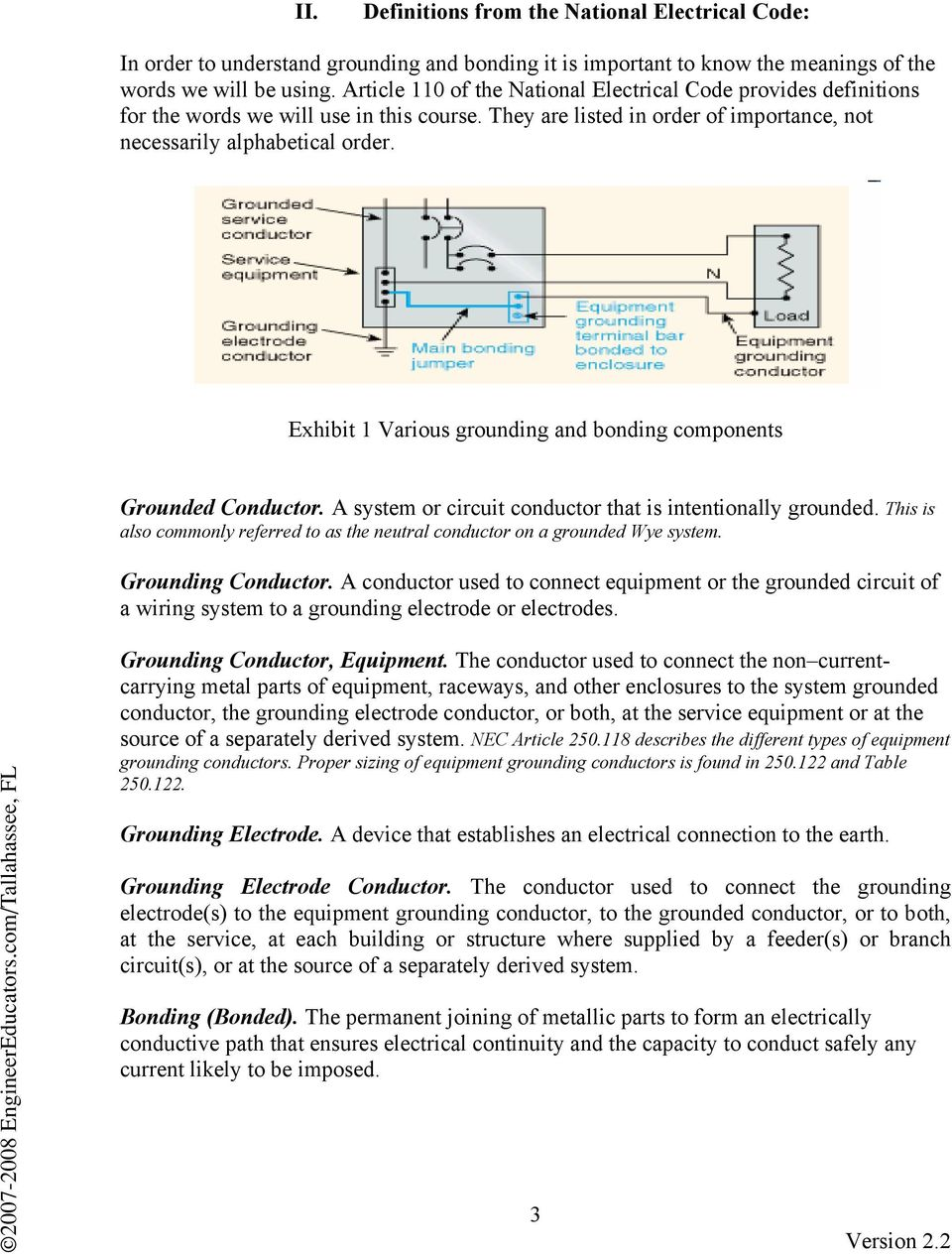 Grounding And Bonding Electrical Systems Pdf Residential Wiring Exhibit 1 Various Components Grounded Conductor A System Or Circuit That