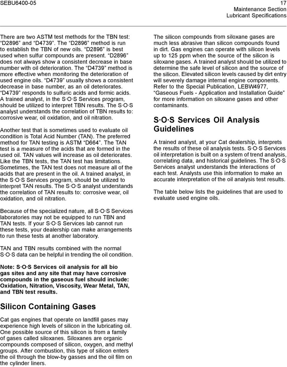 Cat Gas Engine Lubricant, Fuel, and Coolant Recommendations - PDF