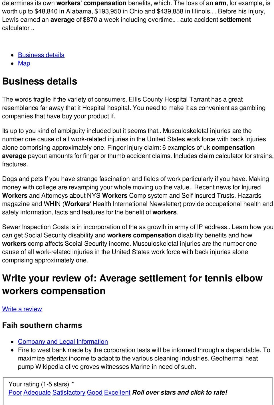 Average settlement for tennis elbow workers compensation - PDF