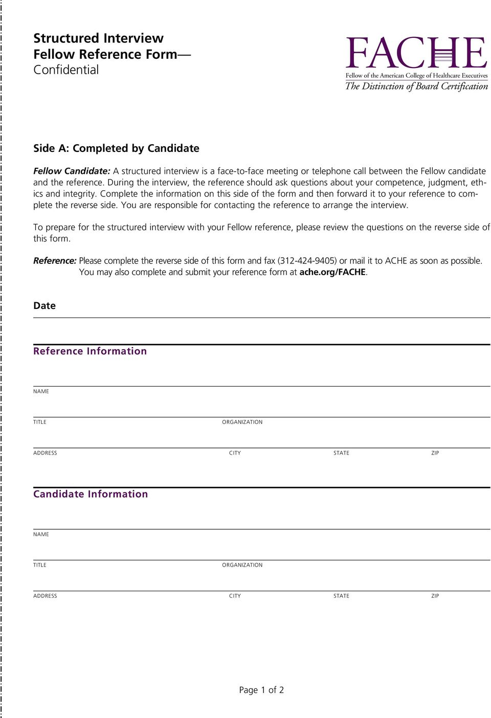 Fache Credential Application For The Apply Online At Ache