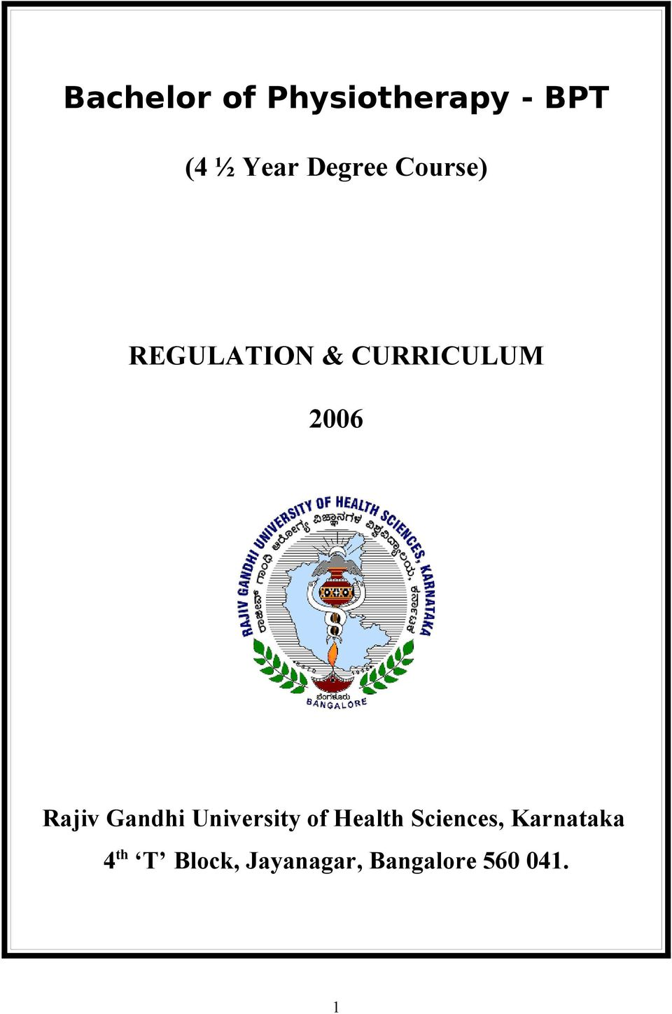 Bachelor of Physiotherapy - BPT - PDF
