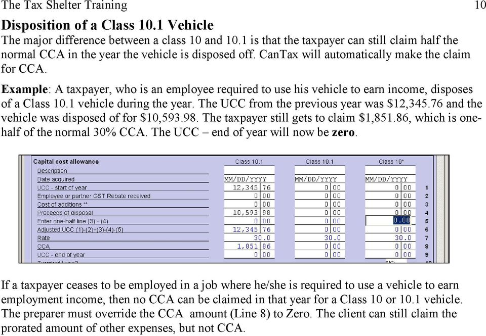 Capital Cost Allowance Example