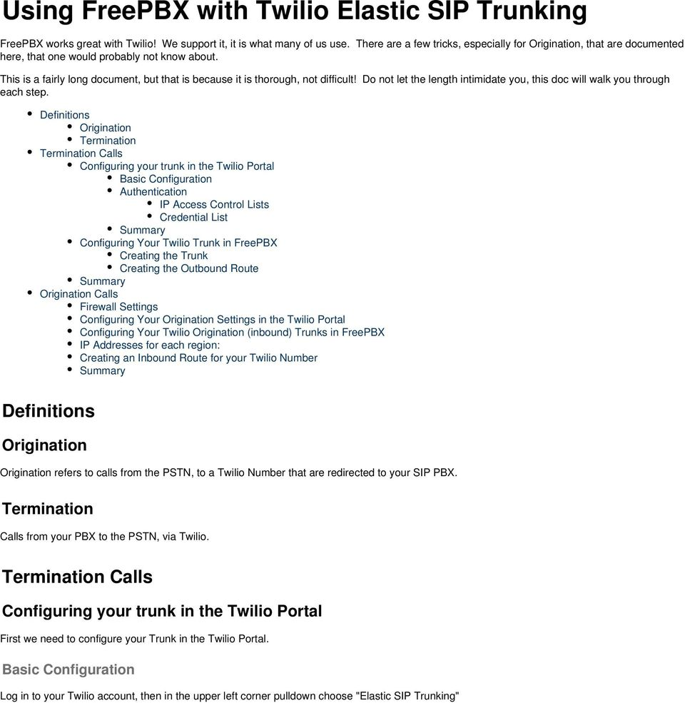 Using FreePBX with Twilio Elastic SIP Trunking - PDF