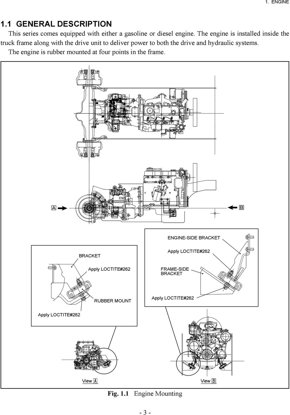 Service Manual Forklift Truck Tcm Corporation Fhd18t3 Fhg18t3 Turn Signal Wiring Diagram Hydraulic Systems The Engine Is Rubber Mounted At Four Points In Frame