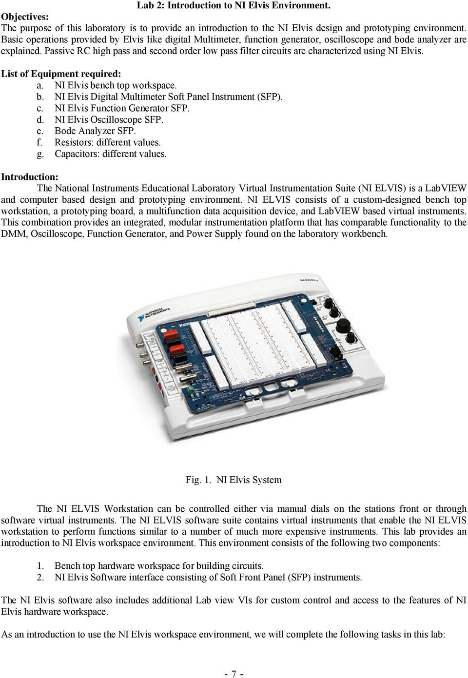 Laboratory Manual Elen 325 Electronics Pdf Electronic Filter Circuits Passive Rc High Pass And Second Order Low Are Characterized Using Ni Elvis