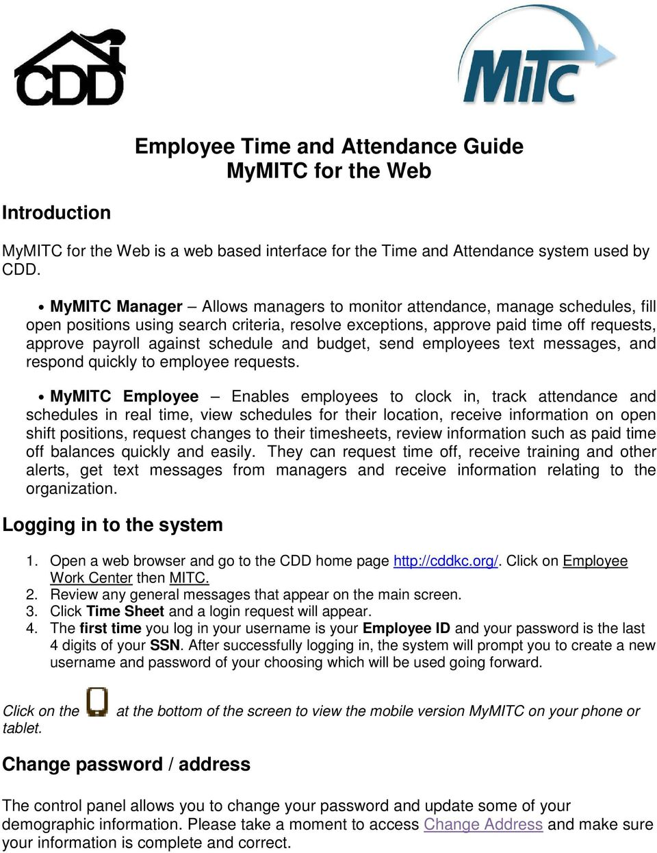 employee time and attendance guide mymitc for the web pdf