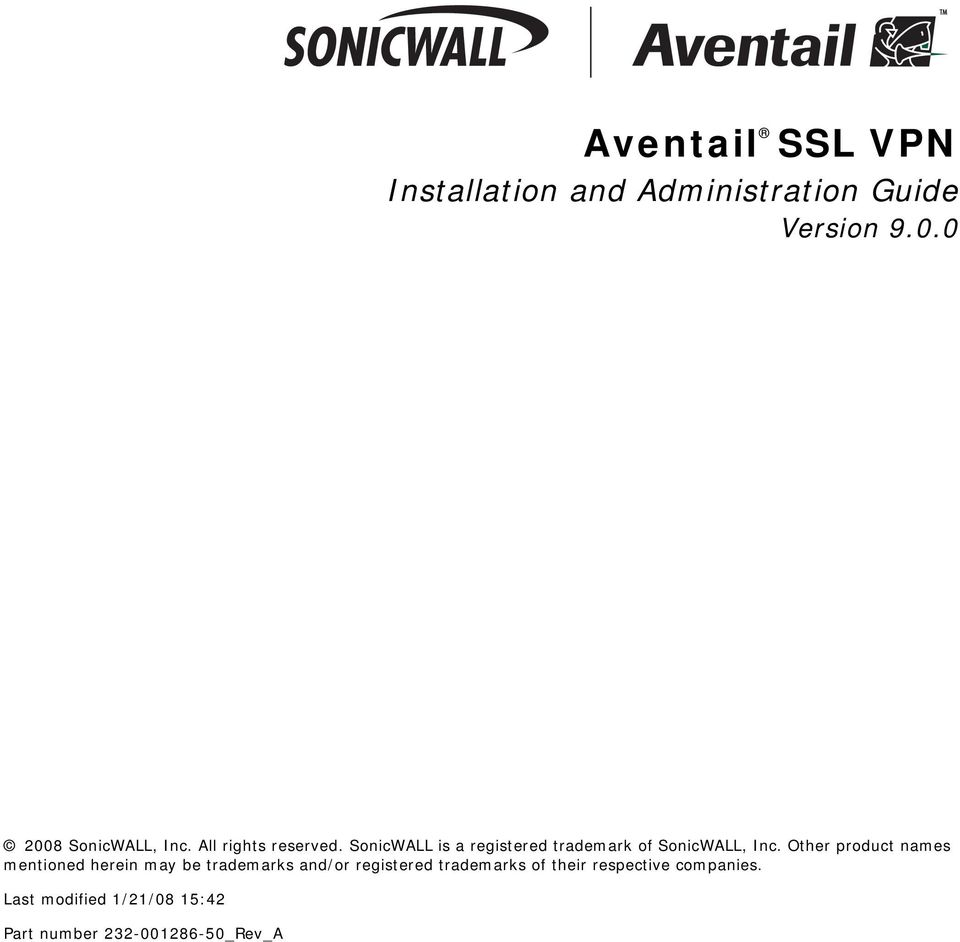 Aventail SSL VPN  Installation and Administration Guide