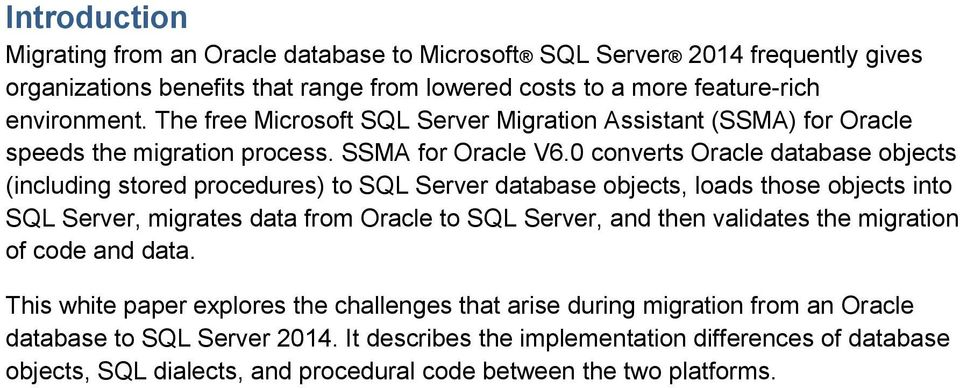 Guide to Migrating from Oracle to SQL Server 2014 and Azure SQL